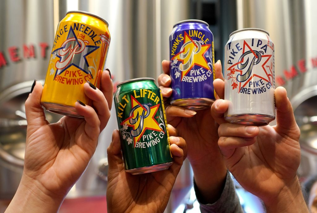Pike Brewing beer cans